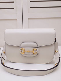 2020 GG original calfskin 1955 horsebit shoulder bag 602204 white