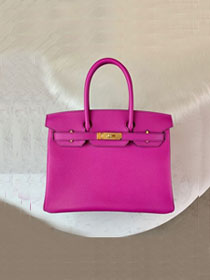 Hermes original epsom leather birkin 25 bag H25-1 bright purple