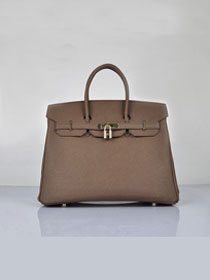 Hermes original epsom leather birkin 25 bag H25-1 dark coffee