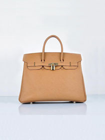 Hermes original epsom leather birkin 25 bag H25-1 light coffee