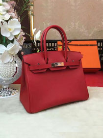 Hermes original epsom leather birkin 25 bag H25-1 red