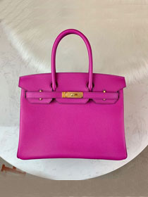 Hermes original epsom leather birkin 30 bag H30-1 bright purple