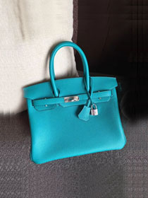 Hermes original togo leather birkin 25 bag H25-1 bright blue