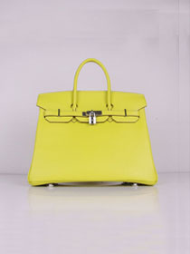 Hermes original togo leather birkin 25 bag H25-1 lemon yellow