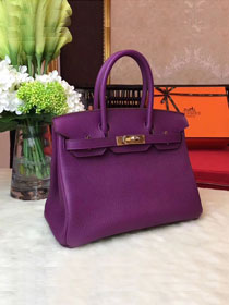 Hermes original togo leather birkin 25 bag H25-1 purple