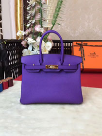 Hermes original togo leather birkin 25 bag H25-1 violet