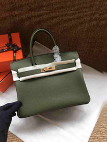 Hermes soft calf leather birkin 25 bag H25-5 blackish green