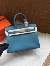 Hermes soft calf leather birkin 25 bag H25-5 blue