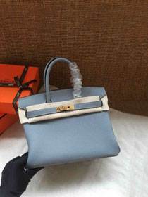 Hermes soft calf leather birkin 25 bag H25-5 light blue