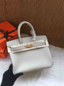 Hermes soft calf leather birkin 25 bag H25-5 light grey