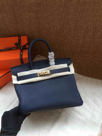 Hermes soft calf leather birkin 25 bag H25-5 navy blue