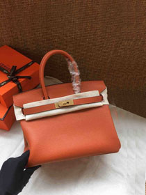 Hermes soft calf leather birkin 25 bag H25-5 orange