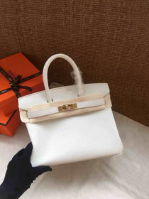 Hermes soft calf leather birkin 25 bag H25-5 white