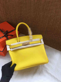 Hermes soft calf leather birkin 25 bag H25-5 yellow