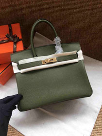 Hermes soft calf leather birkin 30 bag H30-5 blackish green