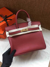 Hermes soft calf leather birkin 30 bag H30-5 bordeaux
