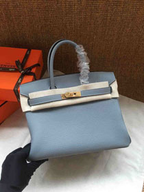 Hermes soft calf leather birkin 30 bag H30-5 light blue