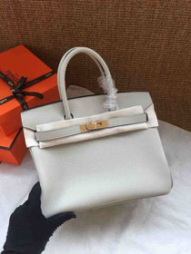 Hermes soft calf leather birkin 30 bag H30-5 light grey