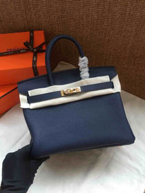 Hermes soft calf leather birkin 30 bag H30-5 navy blue
