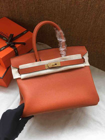 Hermes soft calf leather birkin 30 bag H30-5 orange