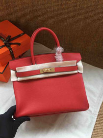 Hermes soft calf leather birkin 30 bag H30-5 red