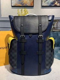 Louis vuitton original epi leather christopher backpack PM M55111 black&navy blue