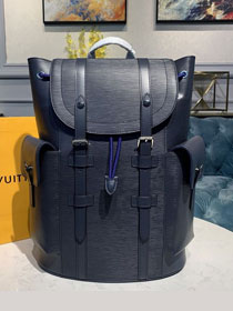 Louis vuitton original epi leather christopher backpack PM M58868 navy blue