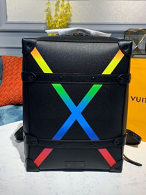 Louis vuitton original taiga leather soft trunk backpack M30337 black