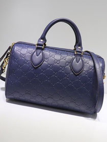 2020 GG original calfskin small top handle bag 409529 navy blue