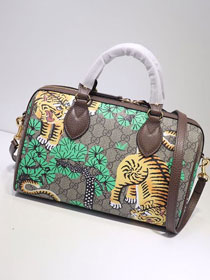 2020 GG original supreme canvas tiger small top handle bag 409529 green