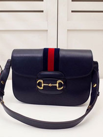 2020 GG original calfskin 1955 horsebit shoulder bag 602204 navy blue