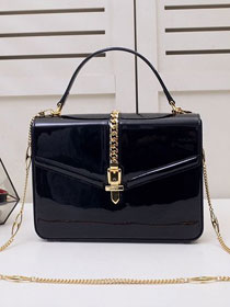2020 GG original patent leather sylvie 1969 top handle bag 589478 black
