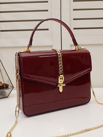2020 GG original patent leather sylvie 1969 top handle bag 589478 bordeaux