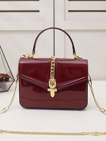 GG original patent leather sylvie 1969 mini top handle bag 589479 bordeaux