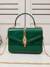 GG original patent leather sylvie 1969 mini top handle bag 589479 green
