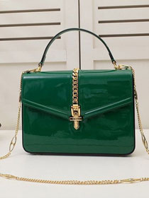 2020 GG original patent leather sylvie 1969 top handle bag 589478 green