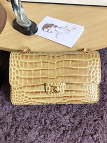 CC original crocodile calfskin flap bag A01112 apricot