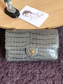 CC original crocodile calfskin flap bag A01112 grey