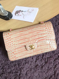 CC original crocodile calfskin flap bag A01112 light pink