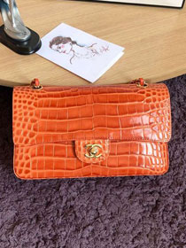 CC original crocodile calfskin flap bag A01112 orange