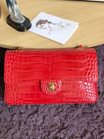 CC original crocodile calfskin flap bag A01112 red
