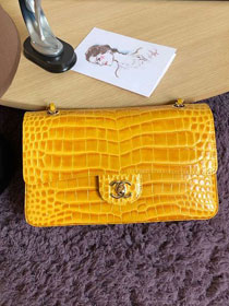 CC original crocodile calfskin flap bag A01112 yellow