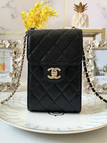 2020 CC original calfskin classic clutch with chain AP0249 black