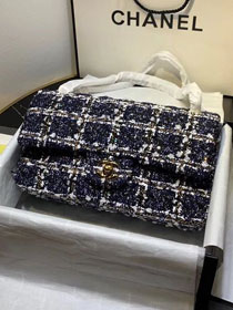 2020 CC original tweed classic handbag A01112 navy blue