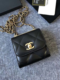 CC original lambskin clutch with chain A81633 black