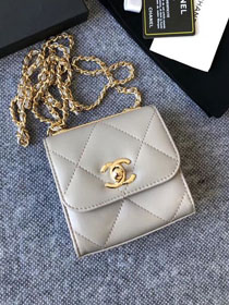 CC original lambskin clutch with chain A81633 grey