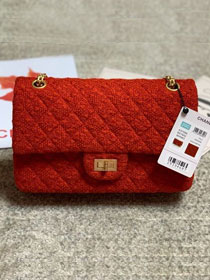 2020 CC original wool tweed 2.55 handbag A37586 red