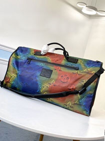 2020 louis vuitton monogram textile reversible keepall 50 M44939 rainbow&grey