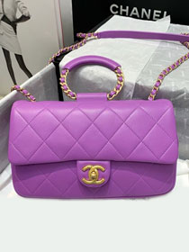 2020 CC original lambskin flap bag AS1358 purple