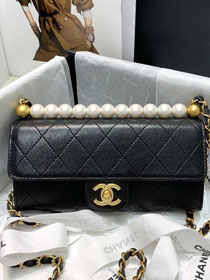 2020 CC original lambskin pearls clutch with chain AP1001 black